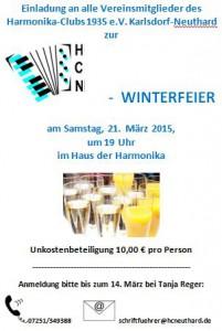 Einladung Winterfeier 2015