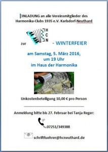 Einladung Winterfeier 2016