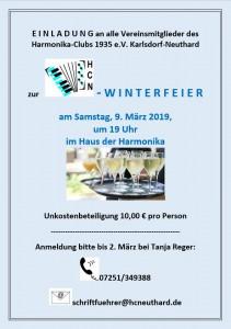 Einladung Winterfeier 2019
